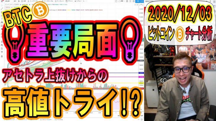 【仮想通貨・ビットコイン】BTC重要局面!!アセトラで上抜けも視野に!!
