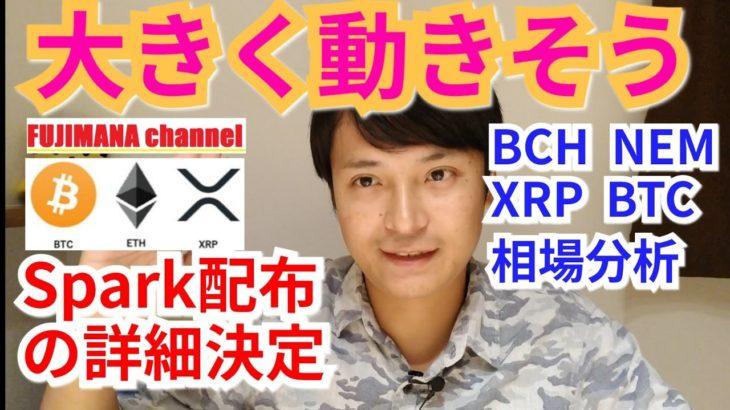 【BTC, BCH, NEM, XRP相場分析】大きく動きそう!!Spark配布の詳細発表