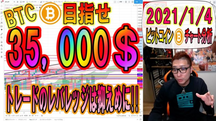 【仮想通貨・ビットコイン】BTC目指せ35,000ドル!!1,000ドル幅の乱高下レバレッジは抑えめに!!