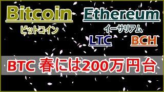 【BTC×ETH×LTC×BCH テクニカル分析】仮想通貨暴落。BTC春には200万円台!