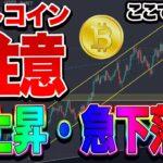 【仮想通貨】ビットコイン高値更新からの急下落パターン!?警戒中!