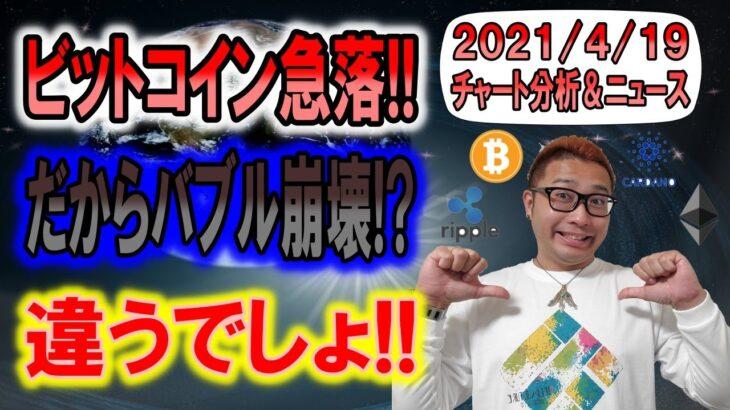 【BTC・ETH・XRP・ENJ・ADA】ビットコイン急落!!だからバブル崩壊?それは別問題!!冷静にチャートを見て判断しろ!!