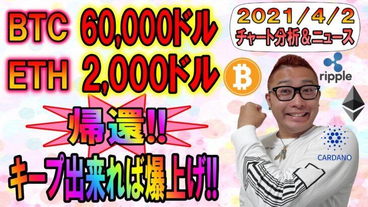 【BTC・ETH・XRP・ENJ・ADA・DOT】ビットコイン6万ドルイーサリアム2千ドルに帰還!!このままキープで爆上げくるか!?