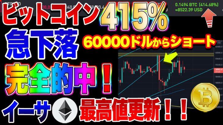 【仮想通貨】イーサ最高値更新!ビットコインショート爆益!予想完全的中!!おめでとうございます!!