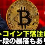 ビットコイン・仮想通貨の暴落注意!一段の下げに警戒すべし。